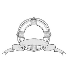 Lifebuoy and ribbon title banner hand drawn vector