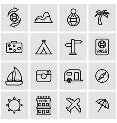 line travel icon set vector image vector image
