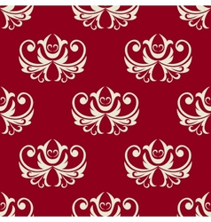 Maroon and white seamless floral pattern vector