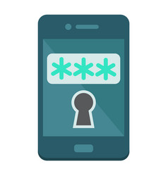 Mobile security flat icon security smartphone vector