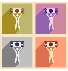 Modern collection flat icons with shadow man with vector image