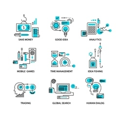 Modern thin line icons set for business vector image vector image