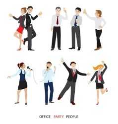 Office party people set flat vector