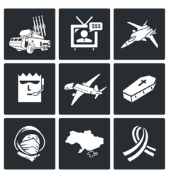 Plane crash icons set vector