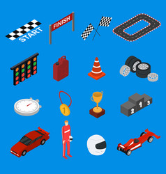racing sport icon set isometric view vector image