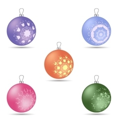 Set of five colorful christmas balls of different vector