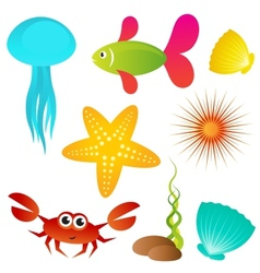 Set of sea animals vector