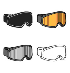Ski goggles icon in cartoon style isolated on vector