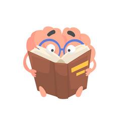 smart humanized cartoon brain character reading a vector image