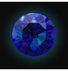 Sparkling sapphire on black background Dark blue vector image vector image
