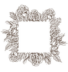 square floral frame with roses black and white vector image