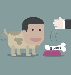 The dog happy with bone in business concept vector image vector image