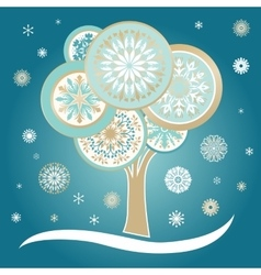 Winter Card with Tree and Snowflakes vector image vector image