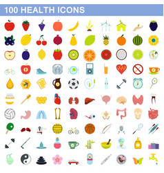 100 health icons set flat style vector