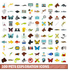 100 pets exploration icons set flat style vector image vector image