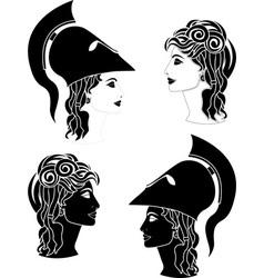 greek woman profiles vector image