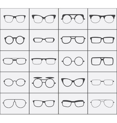 Set of glasses icons in black over white vector
