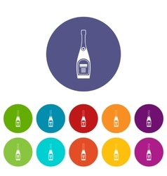 Bottle of champagne set icons vector