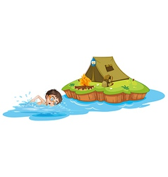 A boy swimming going to the camping tent vector image