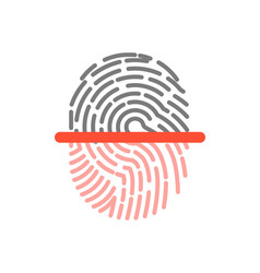 black and pink half fingerprint shape icon vector image