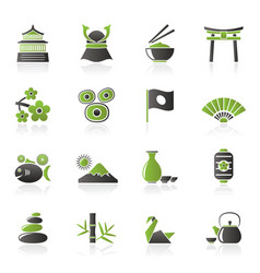 Typical japan culture icons vector