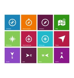 Compass icons on color background vector