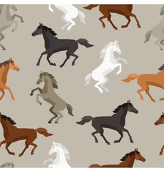 Seamless pattern with horse in flat style vector image