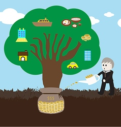 Wealth tree growing vector