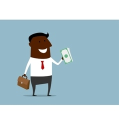 Successful businessman with a handful of money vector image