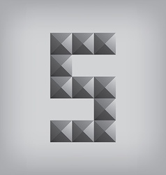 5 number five alphabet geometric icon and sign vector image