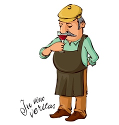 Winemaster smelling red wine vector