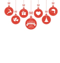 Hanging baubles with christmas symbols vector