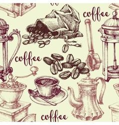Vintage coffee seamless pattern vector image
