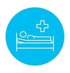 Patient lying on bed line icon vector