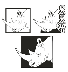 Set of logos depicting the rhino vector