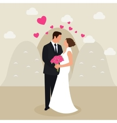Man woman couple married see eyes wedding dress vector