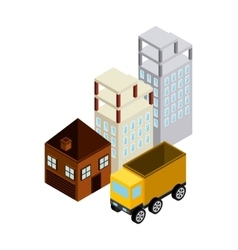 Building house truck icon isometric design vector