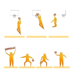 Basketball human sport silhouettes vector