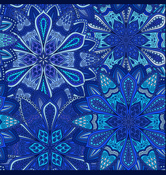 Blue flower pattern boho background vector