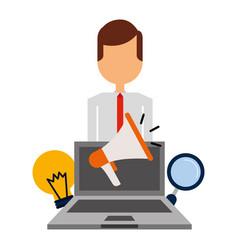 businessman laptop megaphone bulb magnifier vector image