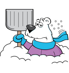 Cartoon polar bear holding a snow shovel vector