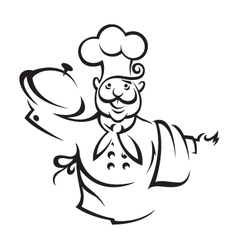 chef with tray vector image vector image