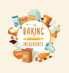Colorful baking ingredients round concept vector