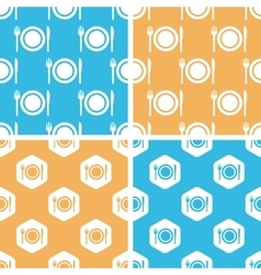 Dishware pattern set colored vector