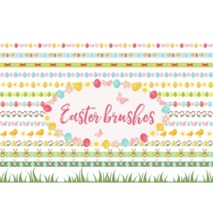 Easter borders ornament garland set banner with vector