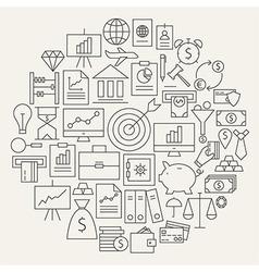 Finance Business Money Line Icons Set Circular vector image