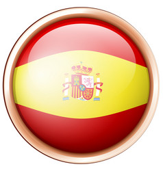 Flag of spain on round badge vector