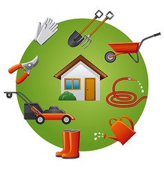garden tools icon set vector image vector image