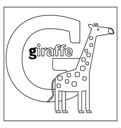 Giraffe letter g coloring page vector