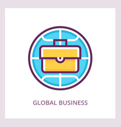 global business icon linear pictogram vector image vector image